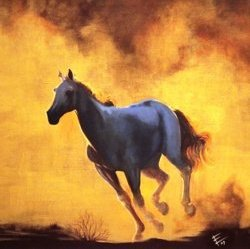 © Elaine Elder, Pale Horse at Sunset, mixed media